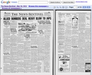 News-Sentinel, but not Knoxville's, appears in Google archive, with 1942 edition categorized under 1912.