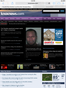 Old version of Knoxnews.com on July 22, 2014