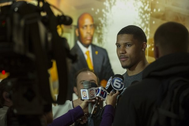 Tennessee forward Jarnell Stokes talks to the media during a press conference at Thompson-Boling Arena in April 2013, after it was announced that he will be staying with the men's basketball team for his junior year. (ADAM BRIMER/NEWS SENTINEL)