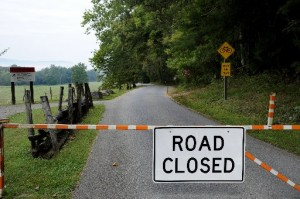 Road closed in Great Smoky Mountains National Park.