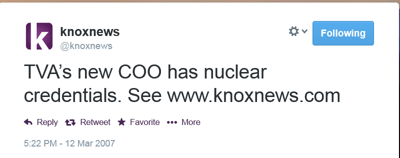 First Tweet from the @knoxnews account.  March 12, 2007.